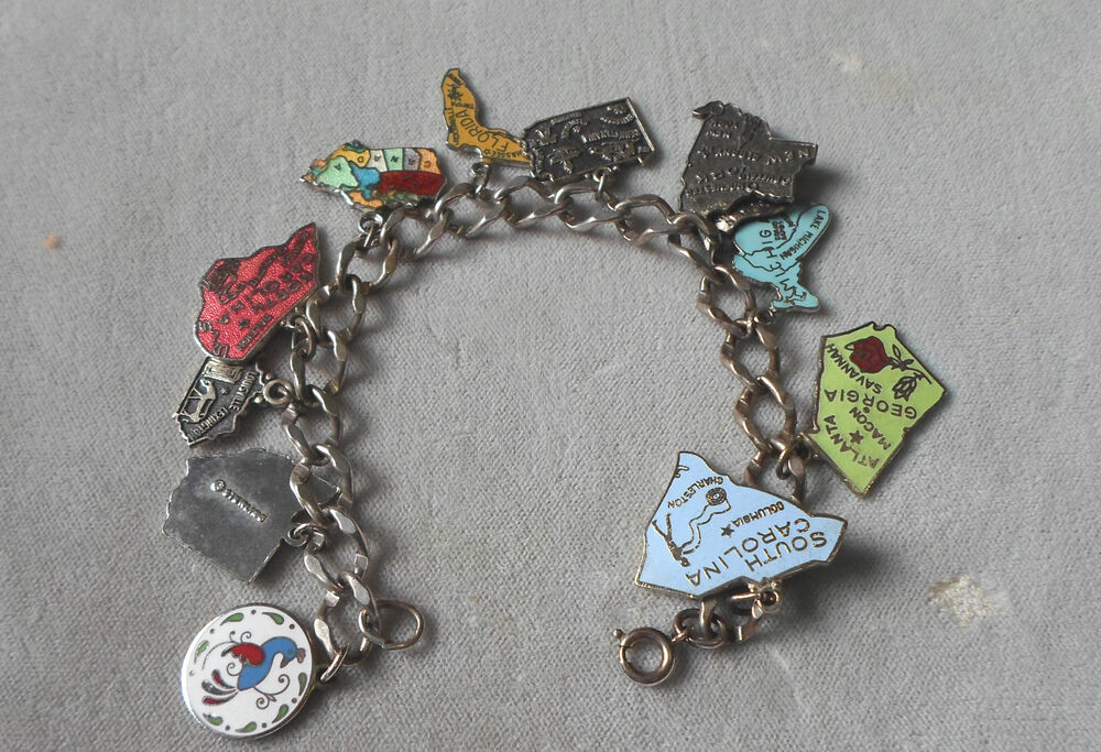 Sterling Enamel Charm Bracelet 10 Charms 9 States Amp Canada