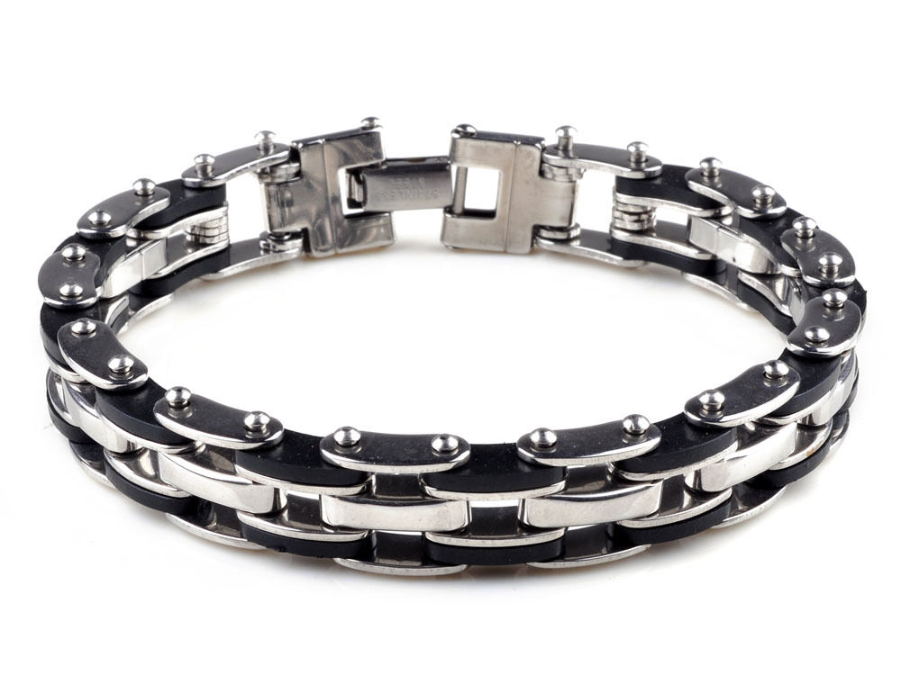 mens stainless steel link bracelet bangle chain black. Black Bedroom Furniture Sets. Home Design Ideas