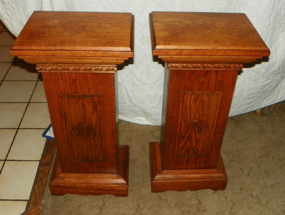 Pedestal Plant Stands ~ Pair of oak odd fellows pedestals plant stands t ebay