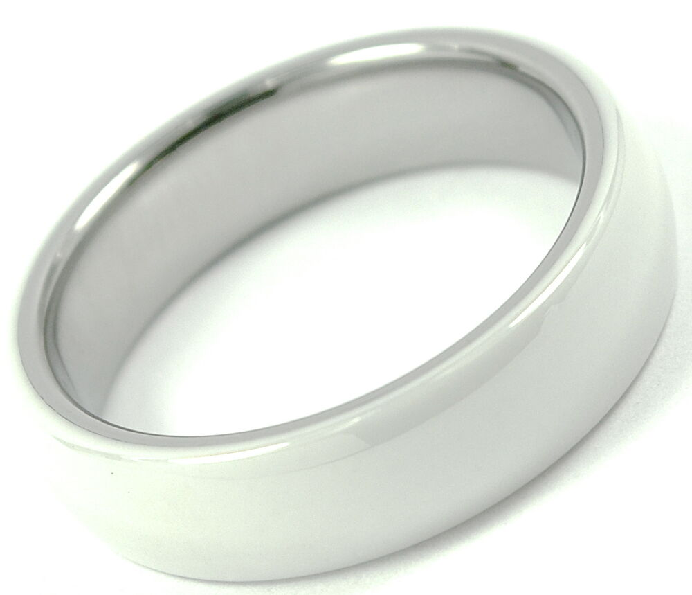 Tungsten Carbide Ring Wedding Band White Ceramic Polished RJ Jewelry 6mm