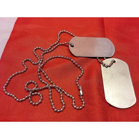 img-Viper US Army Marines Style Aluminium Dog Tags SAS, Para, GI etc c/w chain
