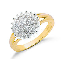 9k Yellow Gold Real Diamond 0.50ctw Cluster Ring - UK Made - Hallmarked Size K-S