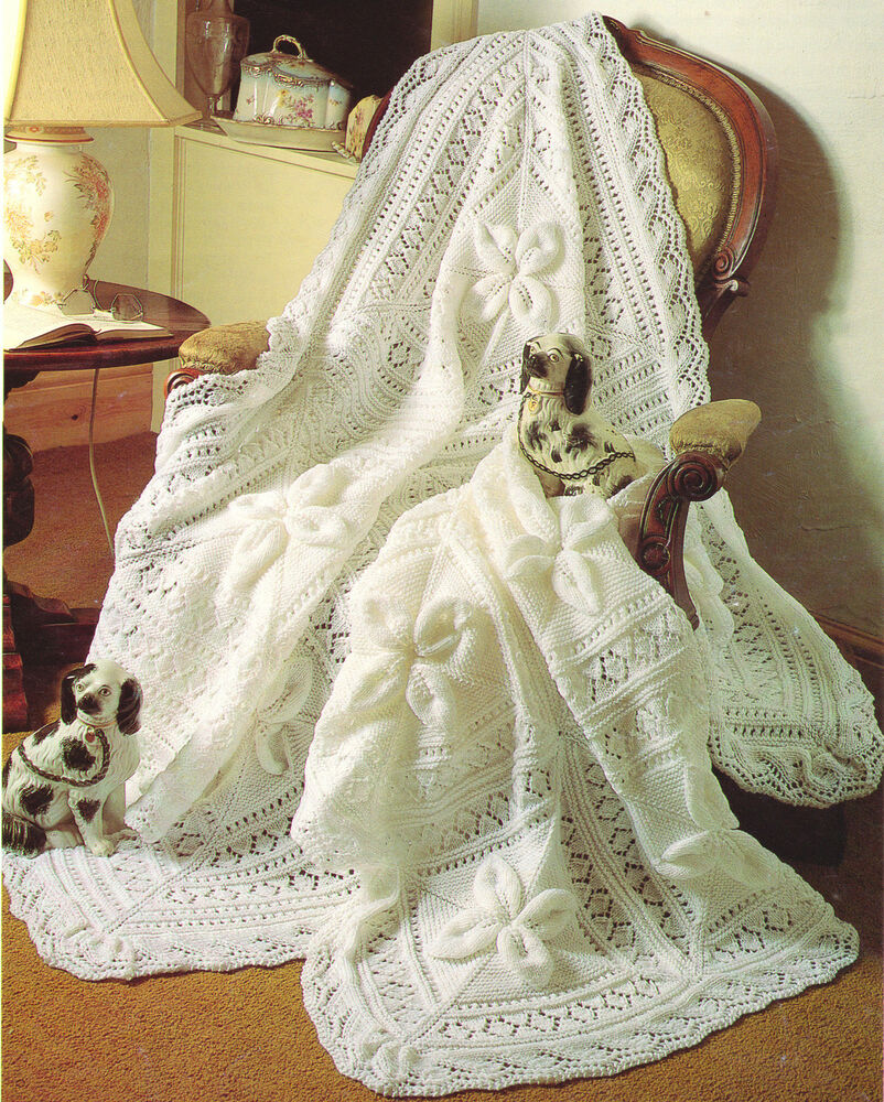 Knitting Patterns Baby Motifs : Waterlily Motif Baby Shawl & Cot Blanket Fancy Border DK ...
