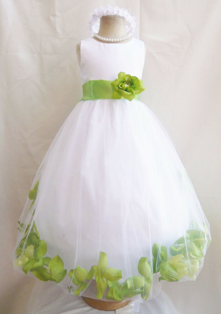 WHITE APPLE GREEN BABY WEDDING PARTY FLOWER GIRL DRESS 6