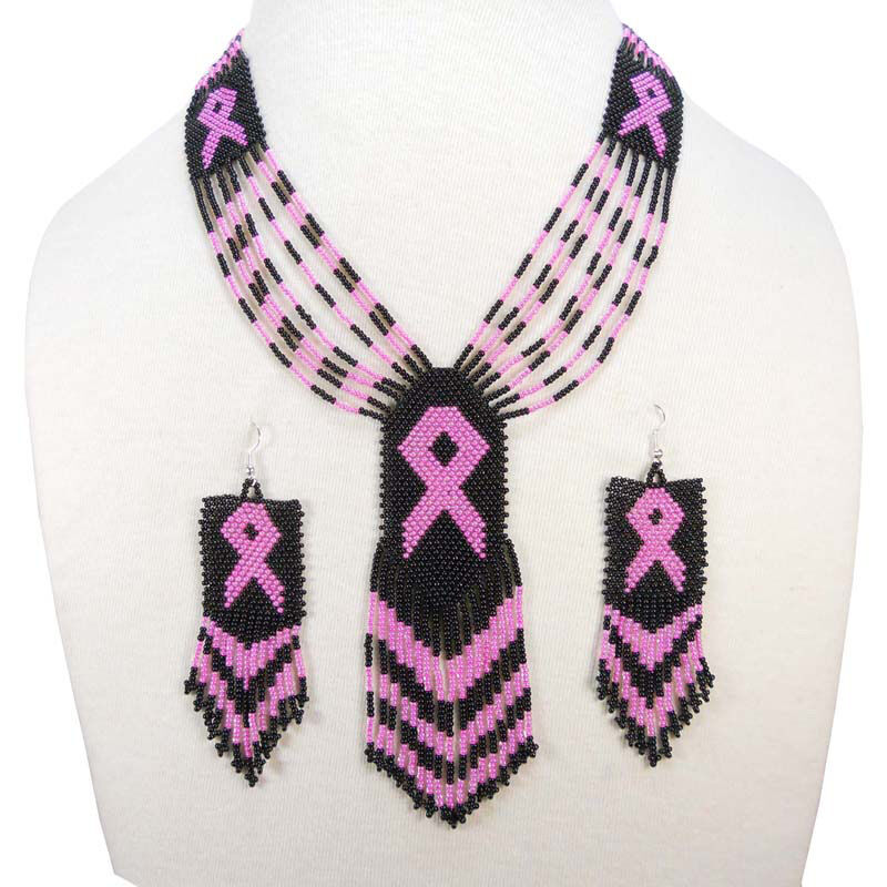 Black Seed Beads Pink Ribbon Cancer Awareness Beaded