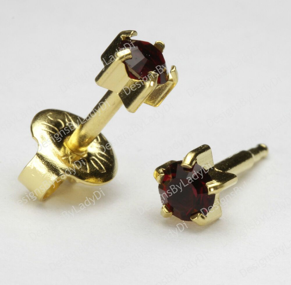 Gold Ear Piercing Earrings 5mm Maxi Pronged Red January ...
