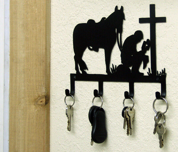 Cowboy Kneeling At Cross Horse Key Holder Rustic Western