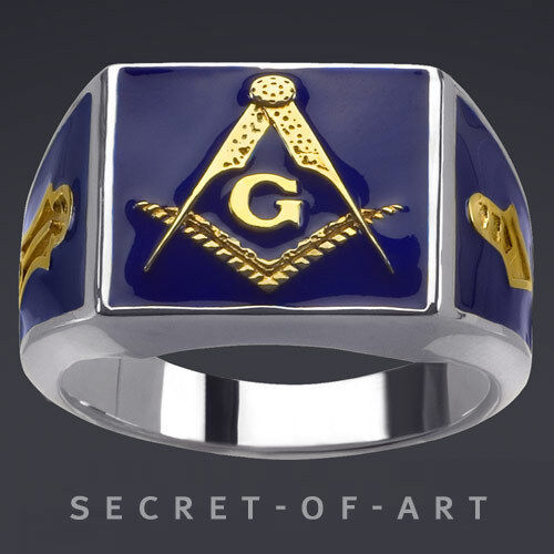 masonic blue lodge silver 925 sterling ring with 24k gold plated parts 4260555870237 ebay. Black Bedroom Furniture Sets. Home Design Ideas