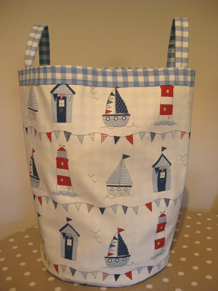 Large nautical with laura ashley gingham fabric bag 50cm for Nautical nursery fabric