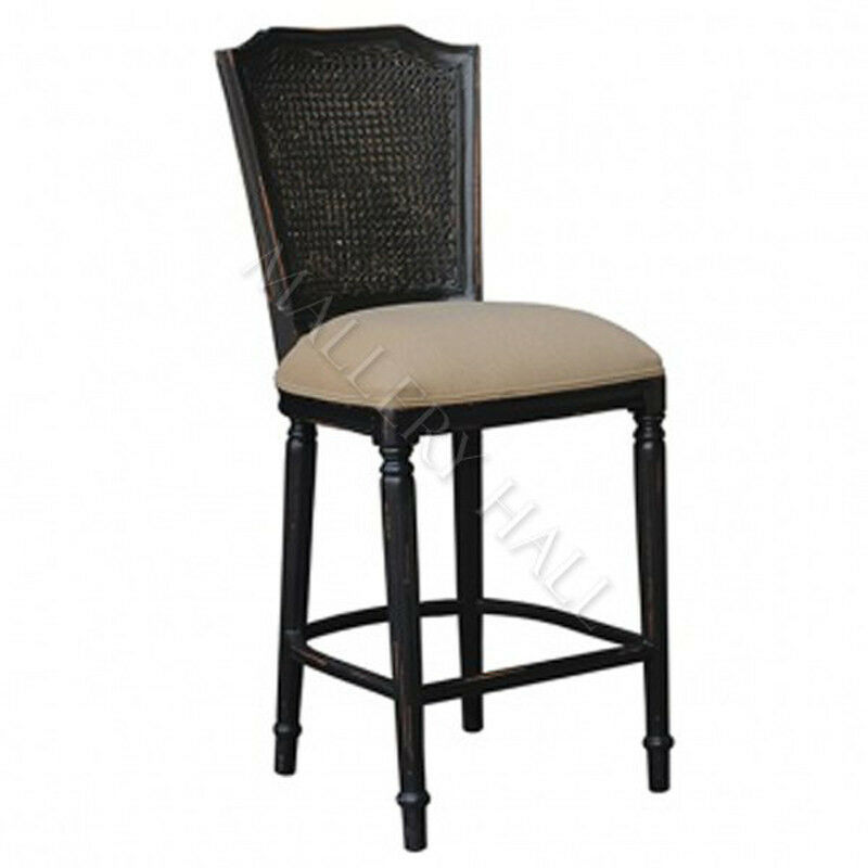 Ivy Black Distressed Cane Back Upholstered Counter Stool