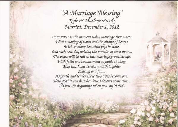 Quot a marriage blessing personalized poem for wedding