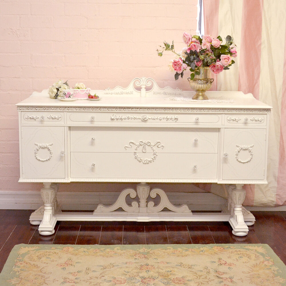 shabby cottage chic large ornate french vintage style sideboard buffet ebay. Black Bedroom Furniture Sets. Home Design Ideas