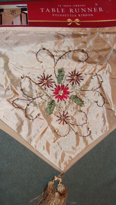Table Runner Gold Christmas Poinsettia Ribbon Embroidered