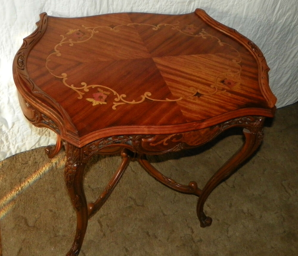 Mahogany amp rosewood pierced carved inlaid center table t25 ebay