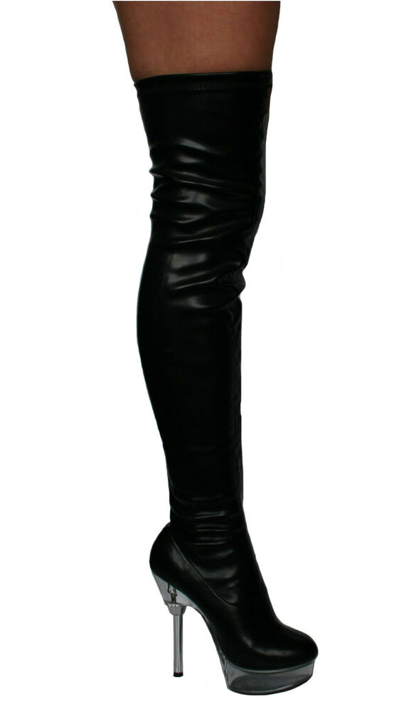 02 stretch black patent platform thigh high boots 6