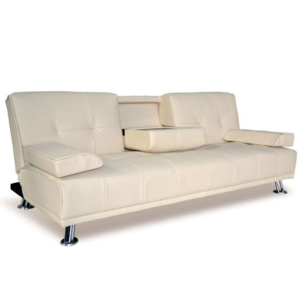 Modern Faux Leather 3 Seater Sofa Bed With Fold Down Table Cup Holder Sofa Beds Ebay