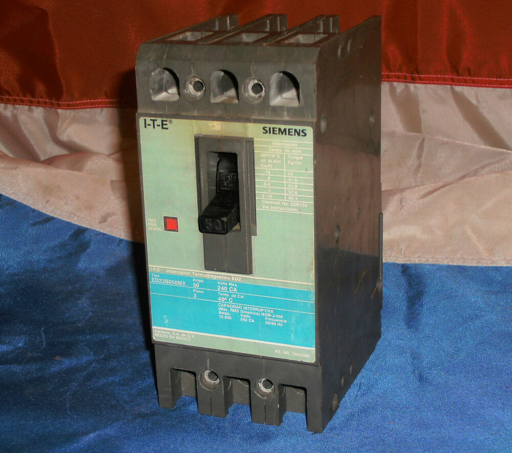 Ite Siemens Ed23b050mx Circuit Breaker Ed23b050 240vac 50a Used Breakers E43b060 60 Amp 3 Pole Continuity Tested Ebay