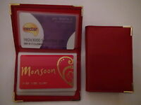 NEW RED LEATHER CREDIT CARD HOLDER/WALLET/BUSINESS/ID HOLDS UP TO 32 CARDS
