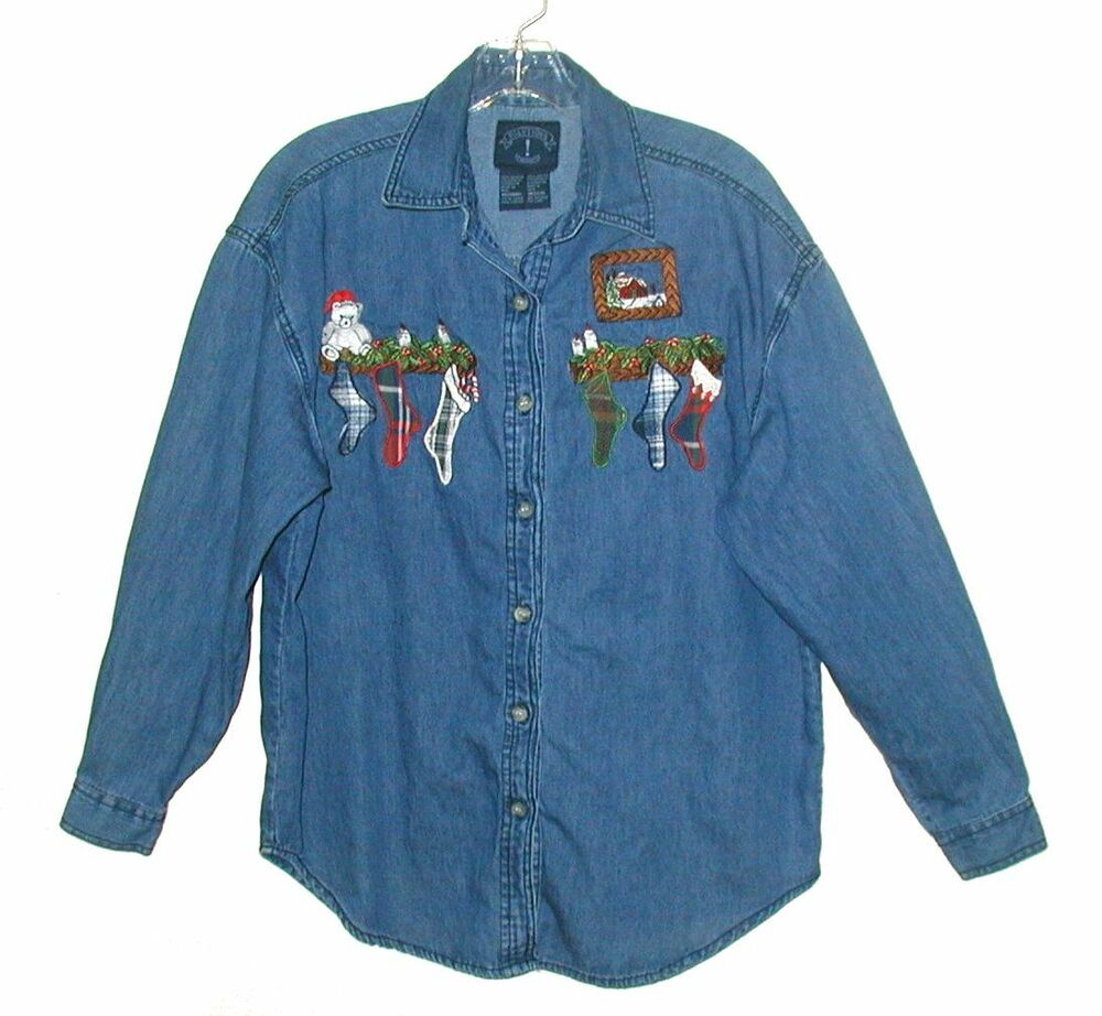 Womanu0026#39;s SOLUTIONS Embroidered Denim Shirt-Jacket CHRISTMAS STOCKINGS Size M | EBay