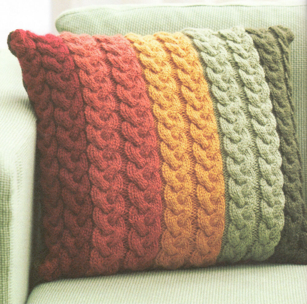 Knitting Stitches Yarn Back : Chunky Wool Cable Cushion Knitting Pattern 16