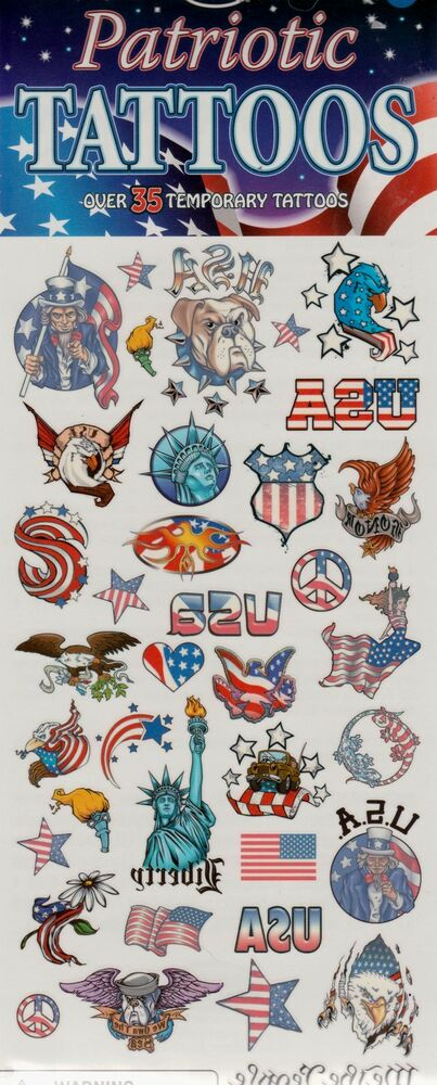 35 patriotic tattoos flags usa birthday party supplies for Tattoo party ideas