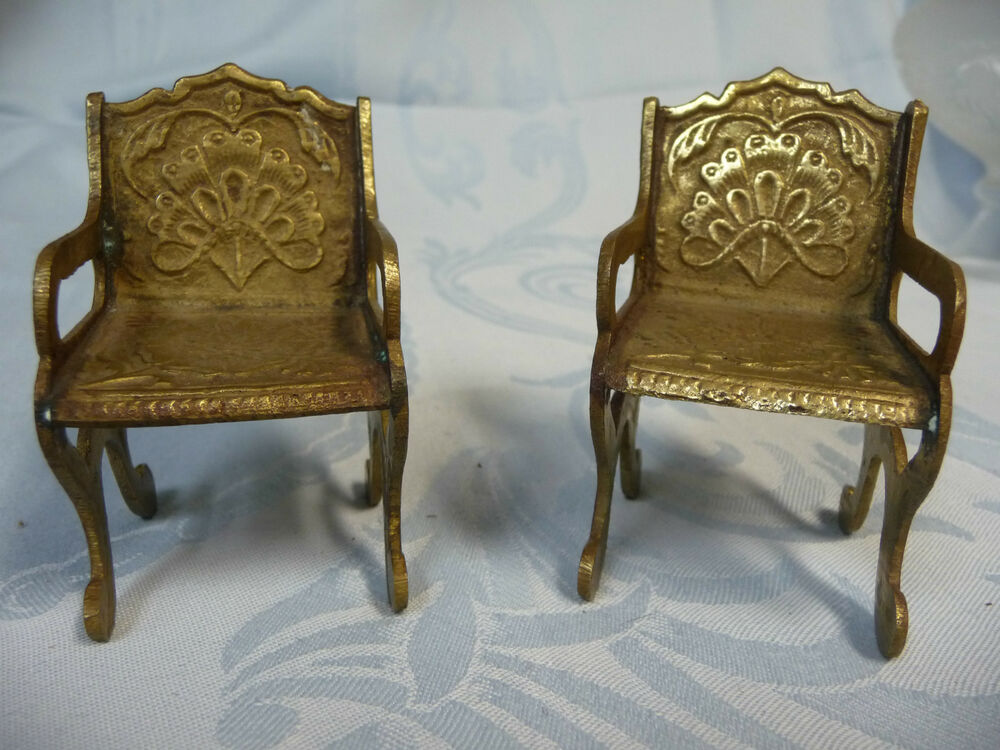 Pair of vintage miniature brass chairs w floral design on for Mini designer chairs