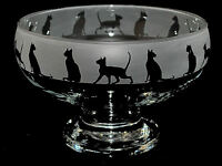 *SIAMESE CAT GIFT*  Boxed FOOTED GLASS BOWL Walking Siamese / Burmese Cat FRIEZE