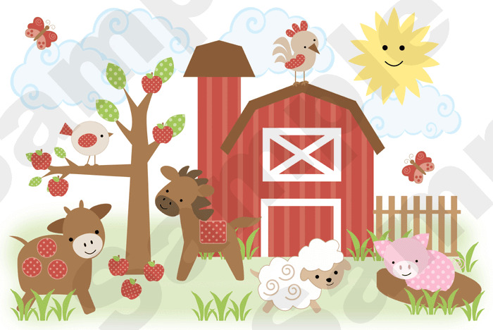 Barnyard farm animals nursery baby kids room wall mural for Barnyard wall mural