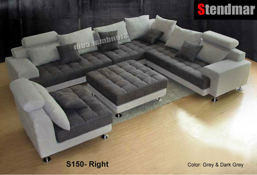 5PC MODERN 2-TONE MICROFIBER BIG SECTIONAL SOFA S150RG : eBay