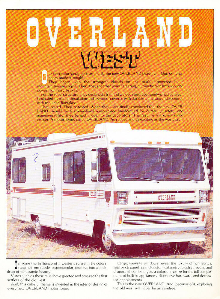 Gmc Motorhome Parts >> Overland West motorhome Camper Original Sales Brochure Folder | eBay
