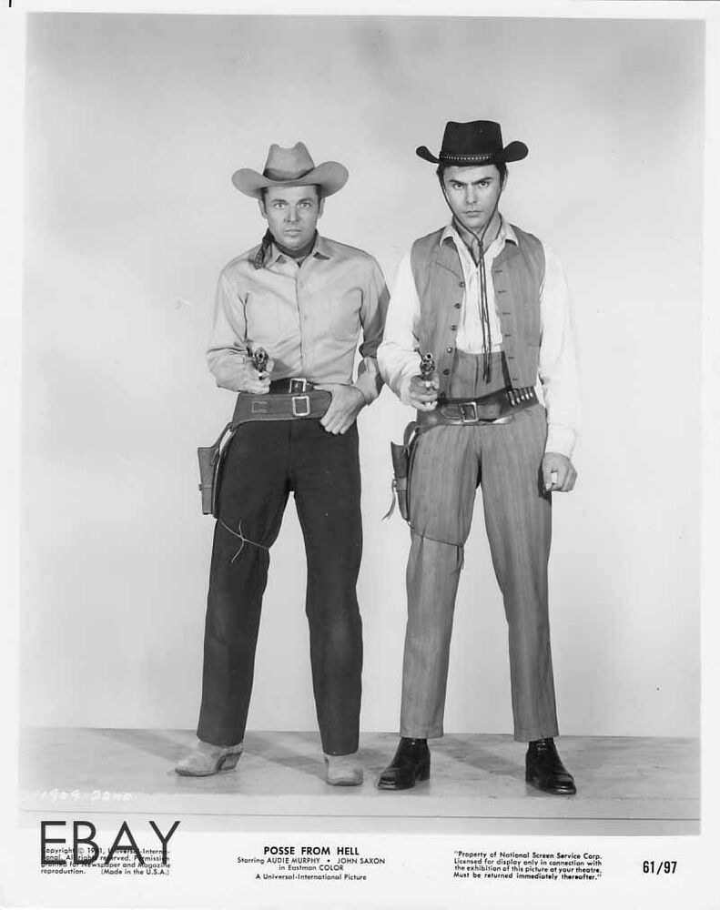 Audie Murphy John Saxon Sexy Cowboy Vintage Photo Posse