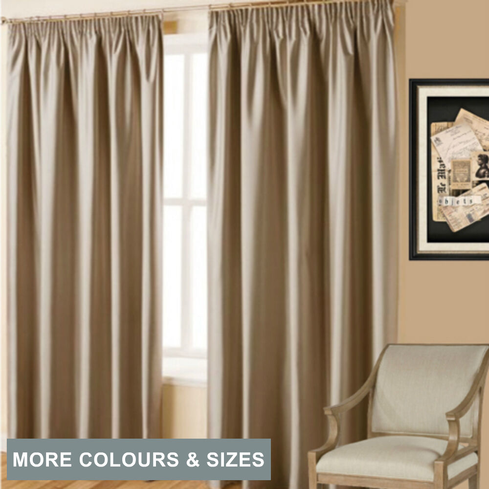 Villa Textured Shantung 100 Blockout Pencil Pleat Curtains Taupe Light Brown Ebay
