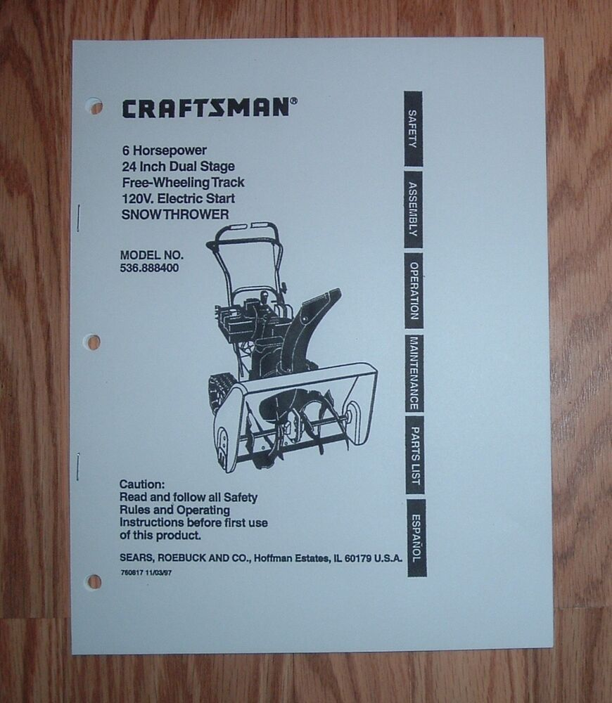 craftsman snowblower 179cc owners manual