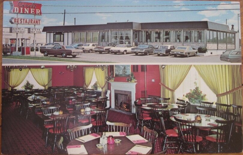 1970s chrome ad postcard restaurant interior