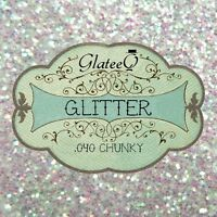 """GlateeQ 20g Clear Iridescent Chunky Glitter 0.040"""" - For Craft or Nail Art"""