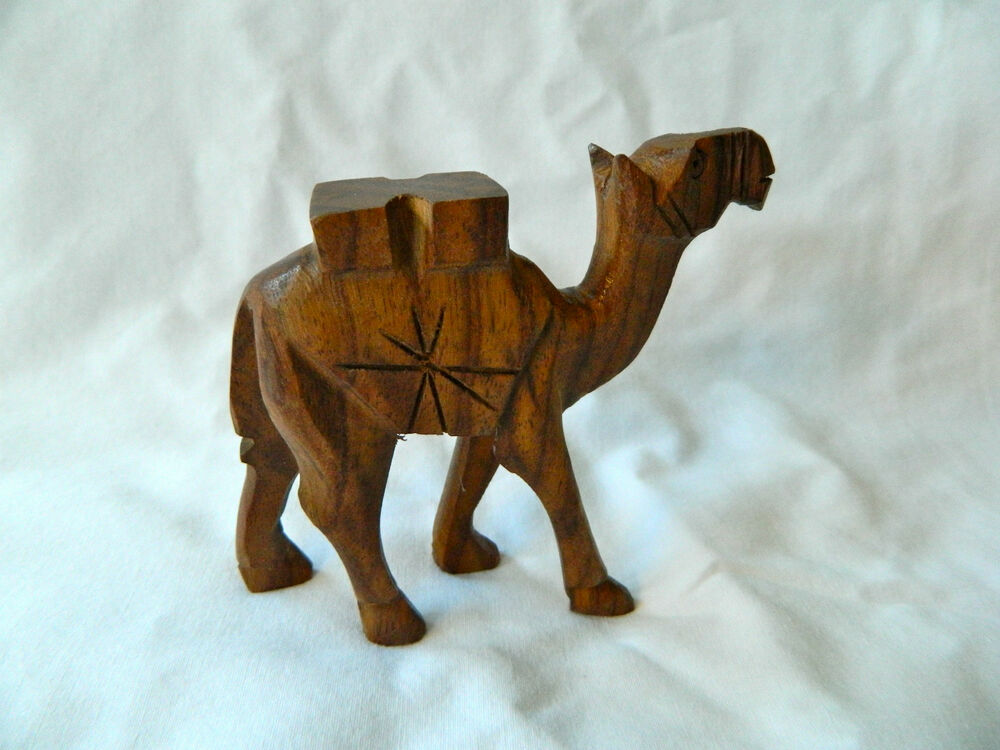 Egyptian small wooden camel hand carved animal figurine