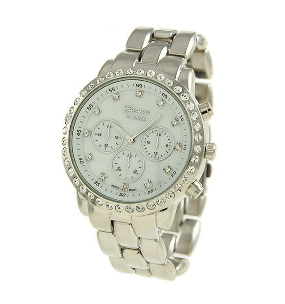 Geneva womens designer inspired chronograph style oversized rhinestone watch ebay for Watches geneva