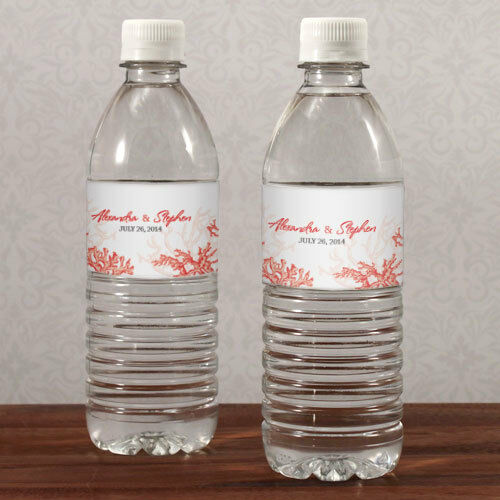 20 Reef Coral Beach Theme Water Bottle Labels Bridal
