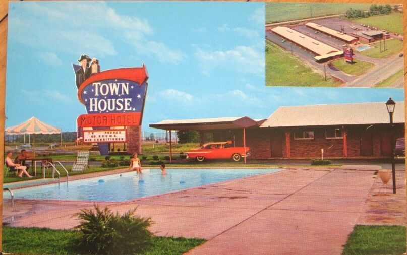 1950s chrome postcard town house motor hotel motel for Town house motor inn