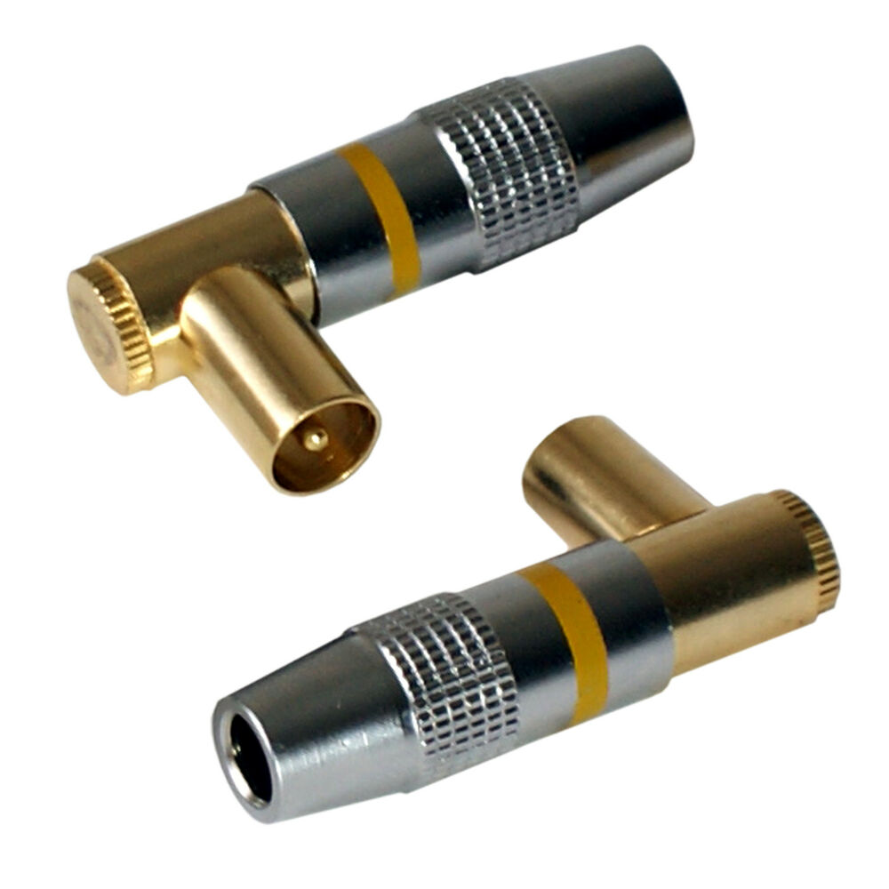 Tv Coaxial Cable Connectors : Tv aerial right angled male gold cable connectors