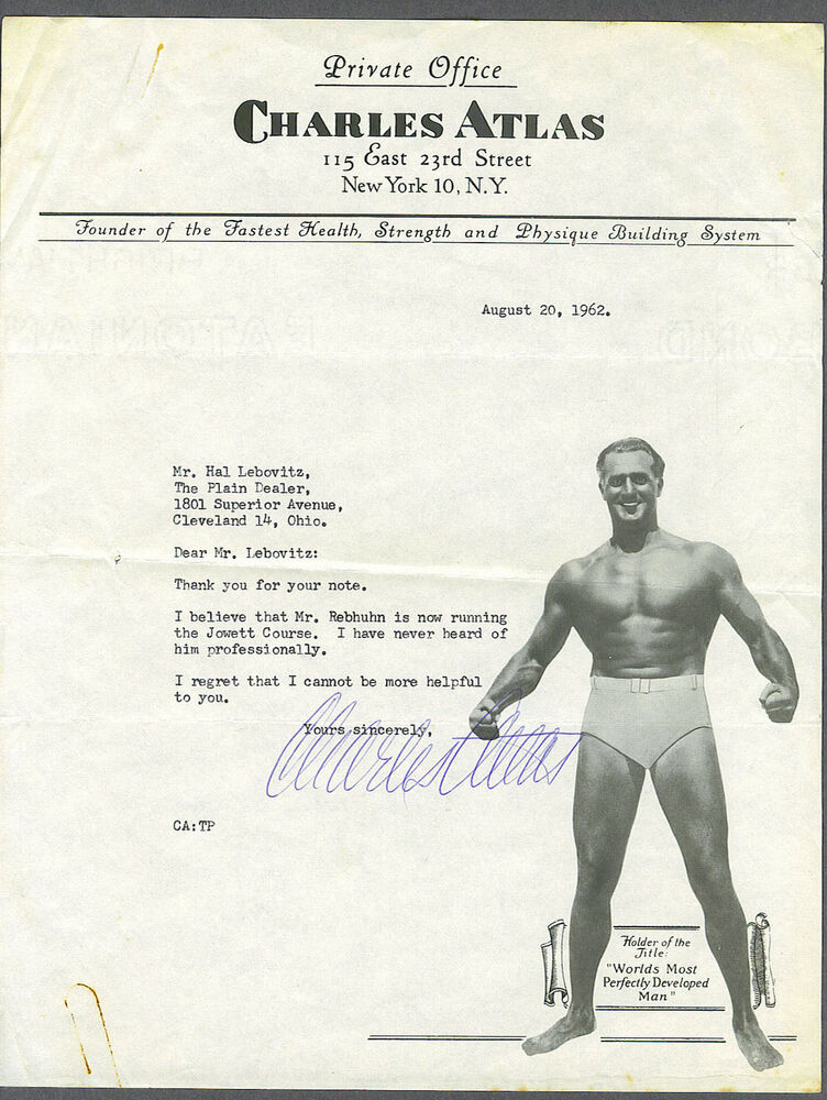 charles atlas signed 1962 picture letter