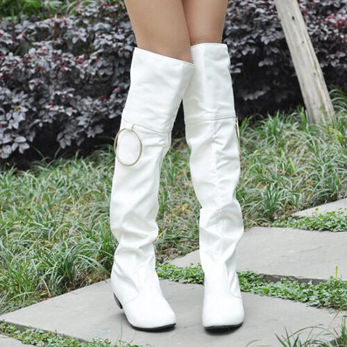 s white patent leather knee high flat