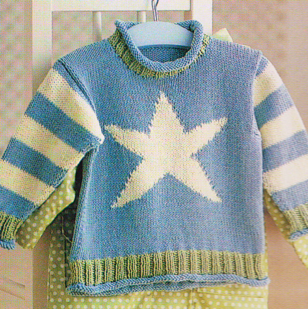 Summer Sweater Knitting Patterns : Starfish Childrens Baby Summer Sweater 6mths - 4 yrs Cotton Knitting Pattern ...