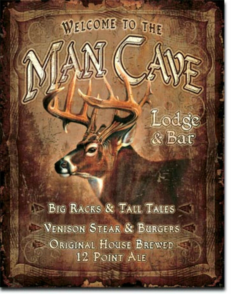Man Cave Vintage Signs : Man cave lodge bar buck deer metal sign tin new vintage