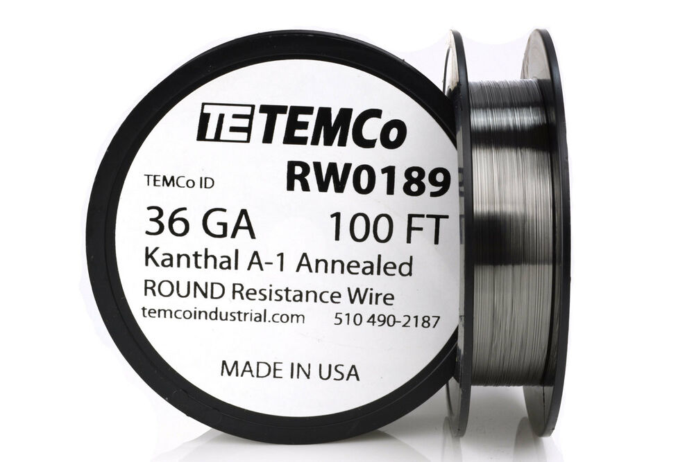 TEMCo Kanthal A1 wire 36 Gauge 100 Ft Resistance AWG A-1 ga | eBay