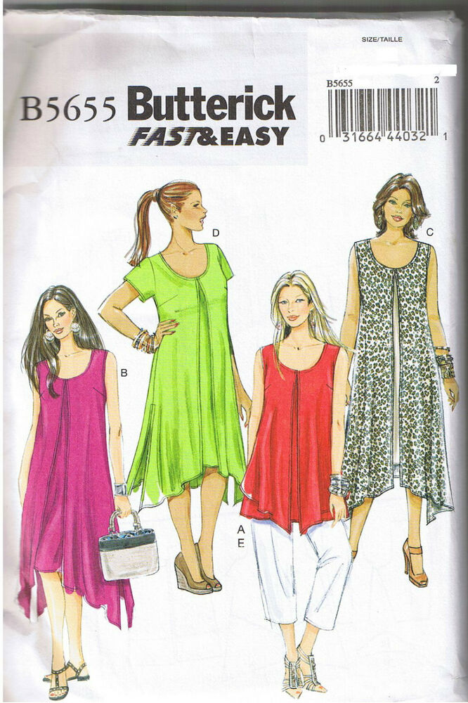 Easy Overlay Dress Tunic Top Cropped Pants Sewing Pattern ...