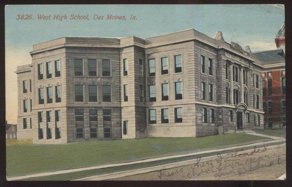 1927 postcard des moines ia iowa west high school campus for Cost to build a house in iowa