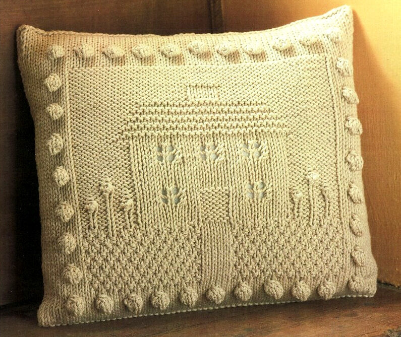 Free Knitting Pattern Cushion Dk : House & Garden Motif Cushion with bobbles 14