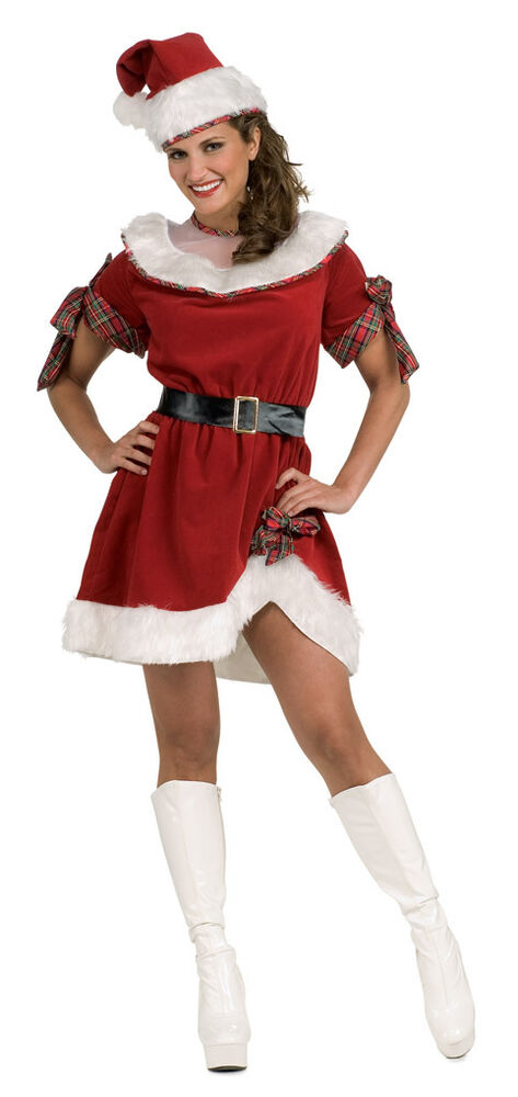 Miss santa mrs claus red sexy dress up christmas holiday
