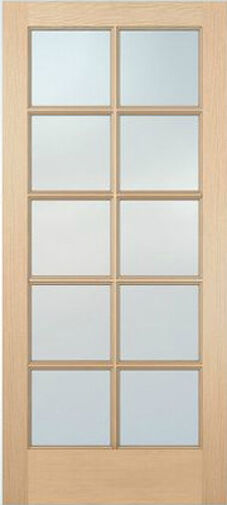 10 lite hemlock stain grade solid exterior entry or patio for Solid french doors exterior
